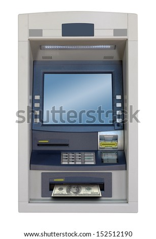 atm machine isolated with 100 dollars bill  - stock photo