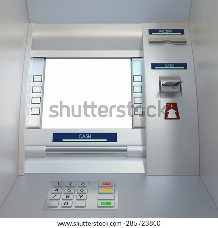 Atm machine with a card in card reader. Display screen, buttons, cash dispenser and receipt printer. Pin code safety, automatic banking, electronic cash withdrawal, bank account access concept. - stock photo
