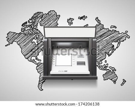 atm machine with blank display and world map - stock photo