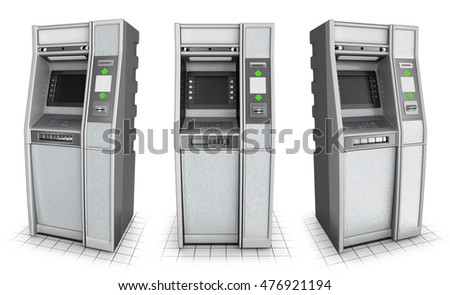 ATM series of images. Isolated on white. 3d image