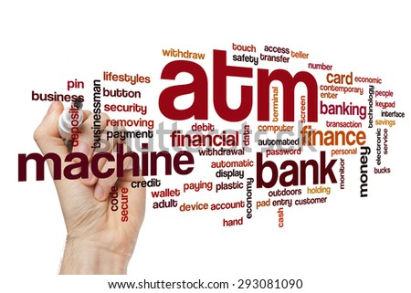 ATM word cloud - stock photo