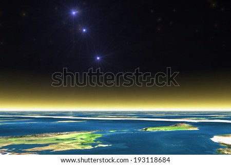 Atmosphere and rising star - stock photo