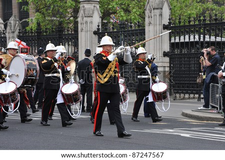 atmosphere around Westminster Abbey for the royal wedding of Prince William & Kate Middleton. April 29, 2011  London, UK Picture: Paul Smith / Featureflash - stock photo