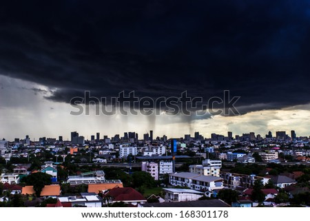 atmosphere building in the city have cloudy and storm before  raining on top view, Bangkok Thailand - stock photo