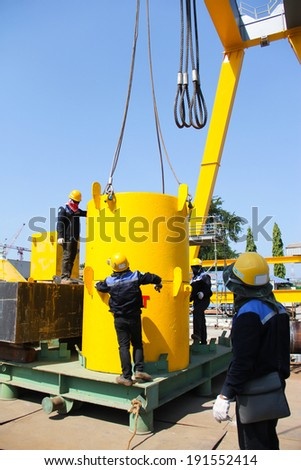 Atmosphere in the construction and installation of crane.