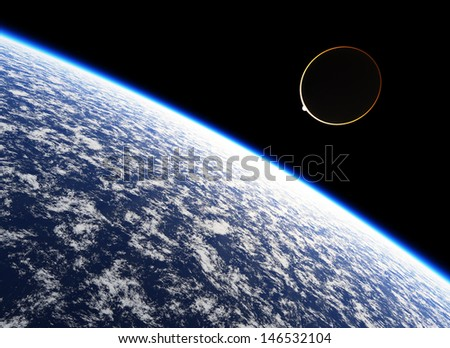 Atmosphere of the planet Earth. This graphic is entirely computer-generated and, although photorealistic, it does not feature any elements of other images. - stock photo