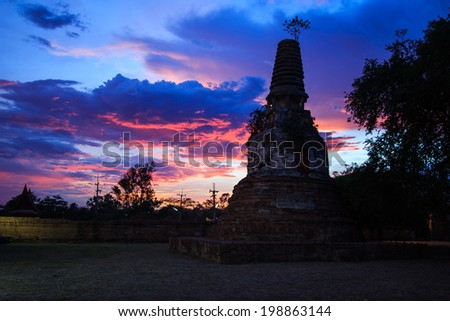 Atmosphere of the sunset in the Jedi Temple. - stock photo