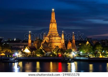 Atmosphere thai temple (Wat Arun) in night - stock photo
