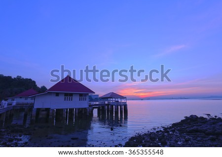 Atmosphere twilight in the evening seaside resorts,Attractions in Thailand.