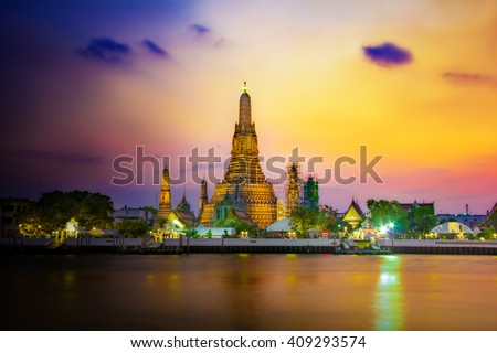 Atmosphere Wat Arun in twilight, It is spectacular, This is an important buddhist temple of thailand and a famous tourist destination. - stock photo