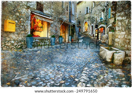 atmospheric old villages - Paul De Vence, France - stock photo