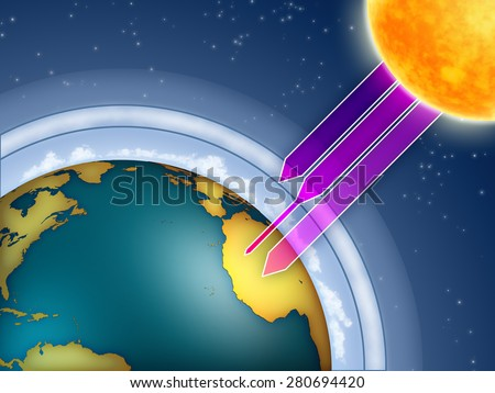 Atmospheric ozone filtering the sun ultraviolet rays. Digital illustration. - stock photo