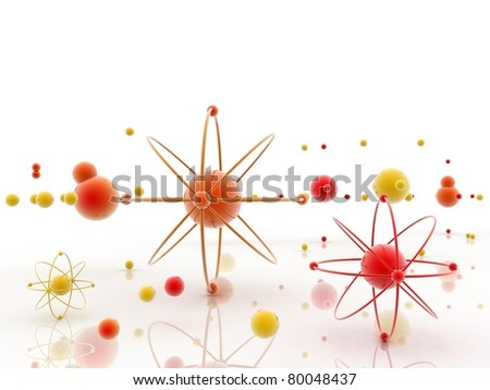 atom 3d illustration - stock photo