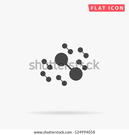 Atom Icon Illustration. Flat simple grey symbol on white background with shadow