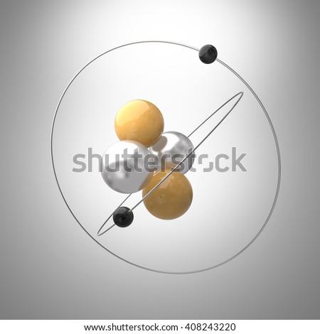 Atom model  3D illustration - stock photo