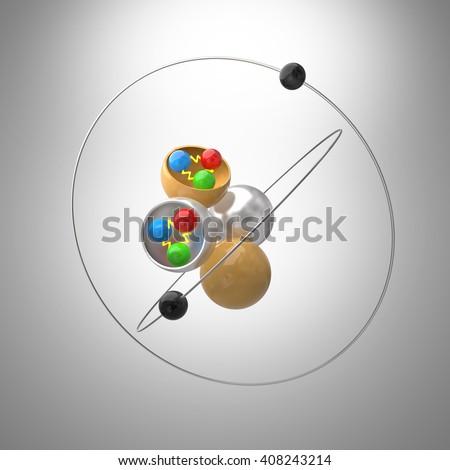 Atom model with Quarks inside Proton and Neutron.3D illustration - stock photo