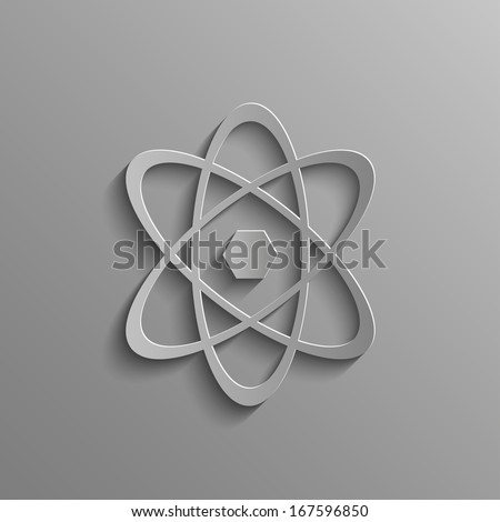 Atom on a gray background - stock photo