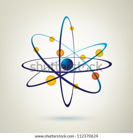 atom structure vector icon, 3d symbol - stock photo