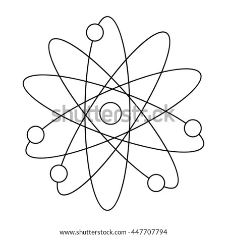 Atom with electrons icon in outline style on a white background - stock photo