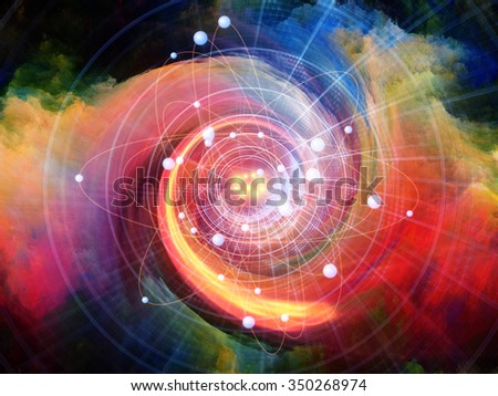 Atom Within series. Composition of electron orbits and fractal pattern on the subject of science and technology - stock photo