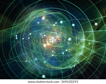Atom Within series. Composition of electron orbits and fractal pattern on the subject of science and technology