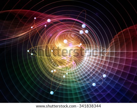 Atom Within series. Design composed of electron orbits and fractal pattern as a metaphor on the subject of science and technology - stock photo