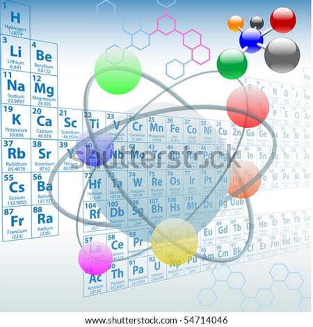 Atomic elements periodic table atoms molecules chemistry design. - stock photo