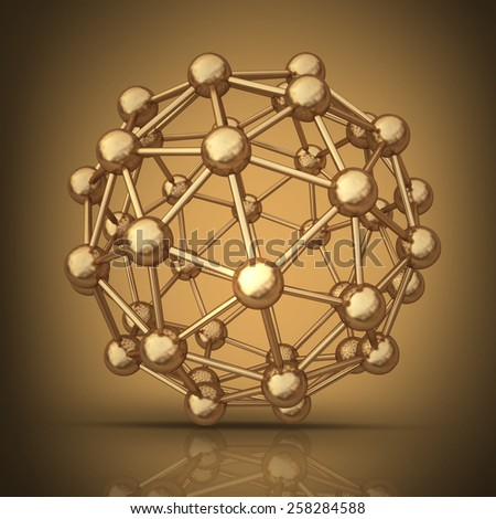 atomic molecule. High resolution 3D collection of gold objects.  - stock photo