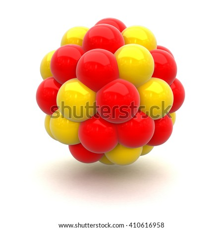 Atomic nucleus. Image with clipping path - stock photo