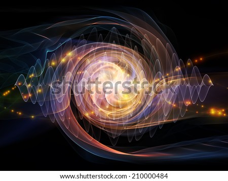 Atomic series. Interplay of lights and fractal elements on the subject of quantum mechanics, particle physics and energy. - stock photo