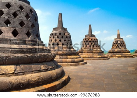 Atop Borobudur temple site in Indonesia - stock photo