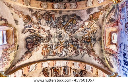 ATOTONILCO, MEXICO - DECEMBER 29, 2014 Frescoes Sanctuary of Jesus Atotonilco Mexico. Built in the 1700s known as the Sistine Chapel of Mexico by Miguel Antonio Martinez between 1740 and 1775.