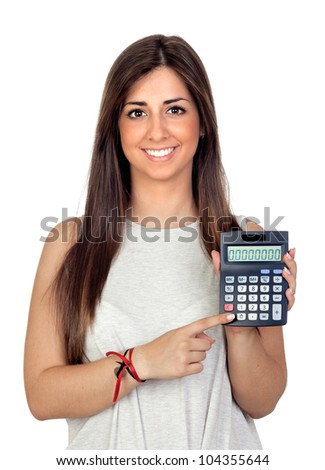 Atractive girl with a calculator isolated on white background - stock photo