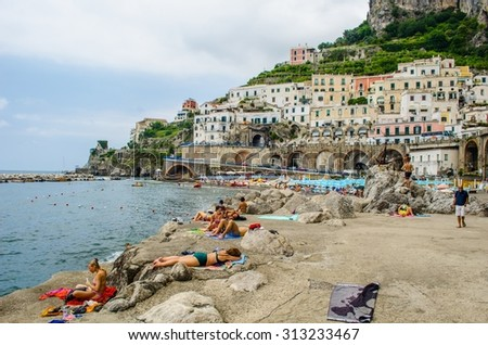 ATRANI, ITALY, JUNE 28, 2014: Scenic picture-postcard view of the beautiful town of Atrani at famous Amalfi Coast with Gulf of Salerno, Campania, Italy