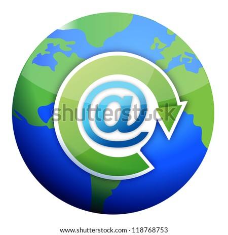 Att Mail Sign Over Globe Illustration Stock Illustration 118768753