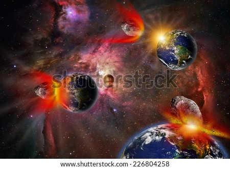 "Attack of the asteroid on the Earth (Collage) ""Elements of this image furnished by NASA  - stock photo"