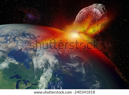 "Attack of the asteroid on the Earth""Elements of this image furnished by NASA ""  - stock photo"