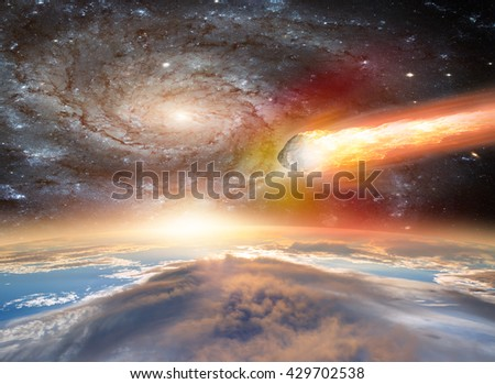 """Attack of the asteroid on the Earth """"Elements of this image furnished by NASA - stock photo"""