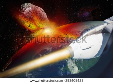 "Attack of the asteroid on the Earth view from space ship ""Elements of this image furnished by NASA """