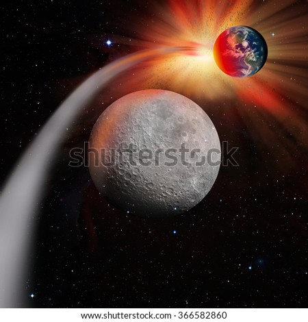 """Attack of the asteroid on the Moon """"Elements of this image furnished by NASA - stock photo"""