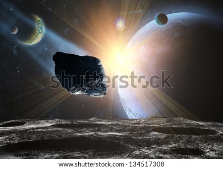 Attack of the asteroid on the moon in the universe. Abstract illustration of a meteor impact.