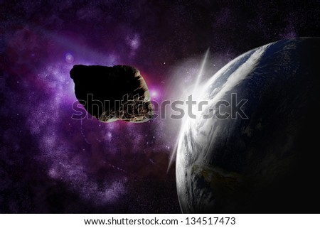 Attack of the asteroid on the planet in the universe. Abstract illustration of a meteor impact. Picture of Earth belongs to NASA.