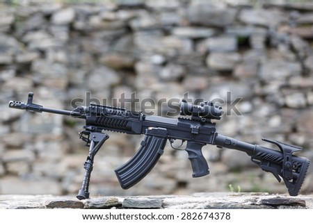 attack rifle in detail - stock photo
