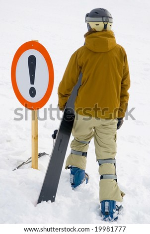 attention a dangerous ski slope - stock photo
