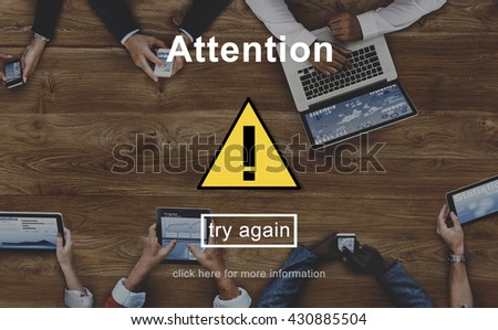 Attention Alert Warning Sign Icon Concept - stock photo