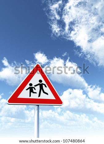 attention childrens roadsign under cloudy blue sky - 3d illustration - stock photo