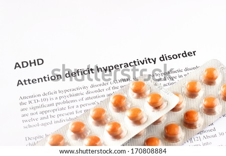 Attention deficit hyperactivity disorder or ADHD. medical or healthcare background - stock photo