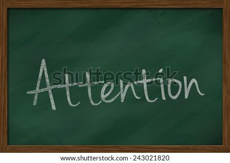 attention word written on chalkboard - stock photo