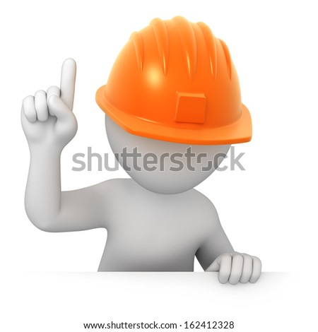 attention! worker points a finger up. image with a work path