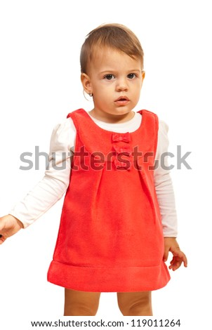 Attentive toddler girl looking you isolated on white background